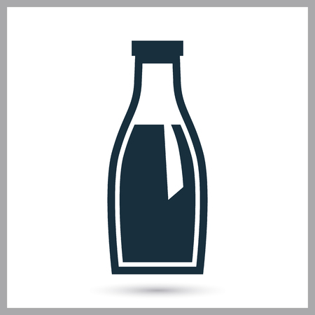 ration: Milk bottle simple icon on the background
