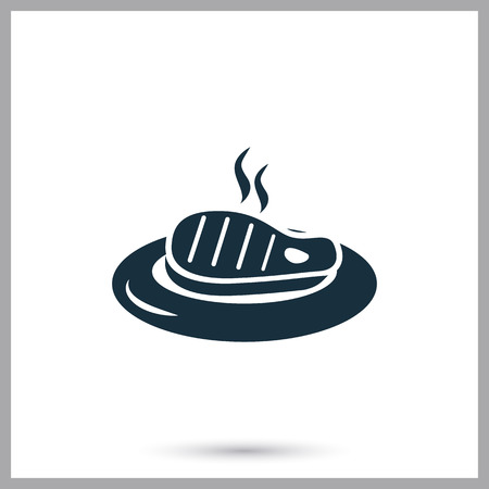 ration: Barbecue steak on the plate simple icon on the background