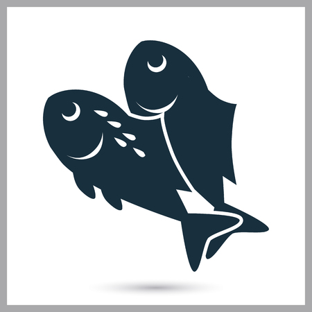 simple fish: Fish simple icon on the background