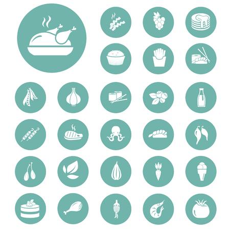 fried shrimp: Set of twenty seven food icons Illustration