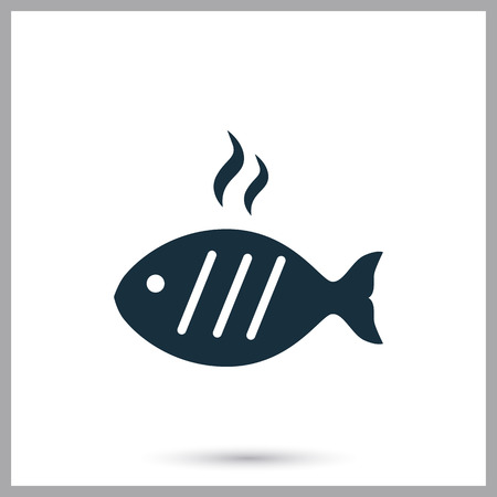 provision: Barbecue fish simple icon on the background