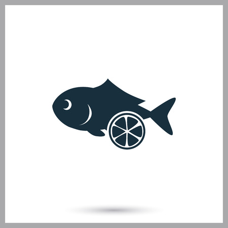 ration: Frozen fish simple icon on the background