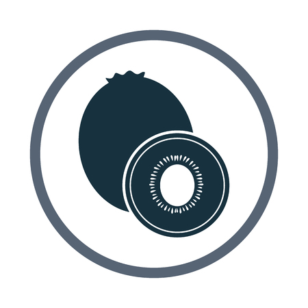 kiwi fruit: Kiwi fruit simple icon on the background Illustration