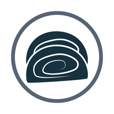 swiss roll: Swiss roll simple icon on the background Illustration