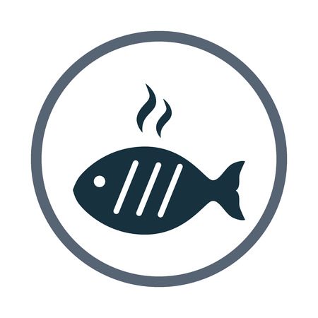 simple fish: Barbecue fish simple icon on the background