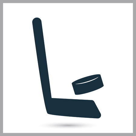 puck: Hockey stick and puck icon on the background