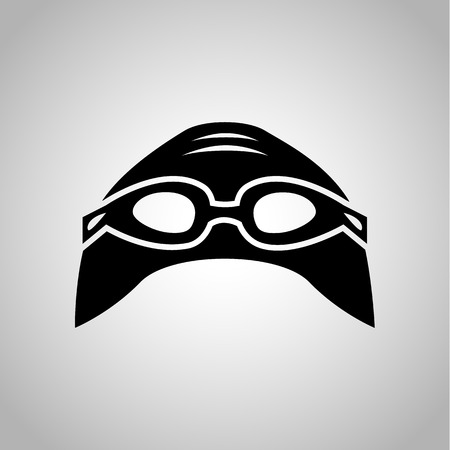 swim cap: Swim cap and glasses icon on the background