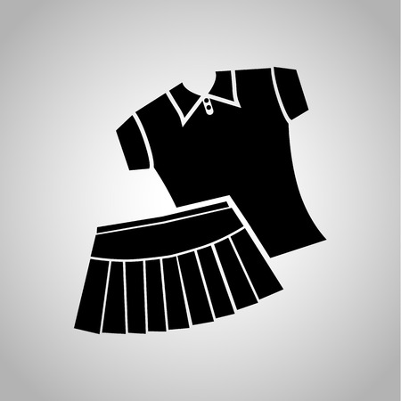 tennis skirt: Tennis skirt and shirt icon on the background