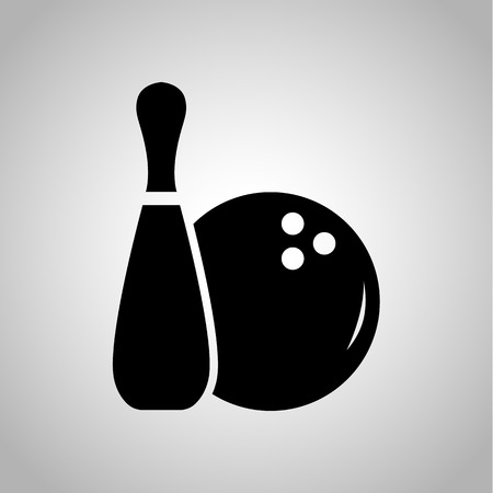 skittle: Ball and skittle foe bowling icon on the background