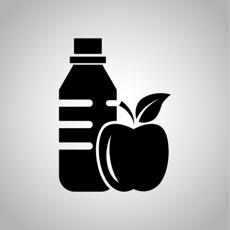thinness: Health fitness drink and food icon on the background Illustration