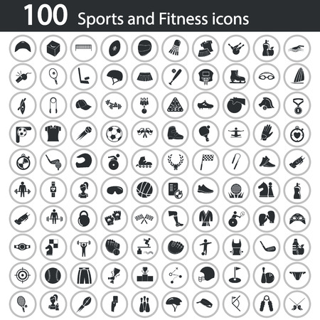 swimming belt: Set of one hundred sport icons on the background Illustration