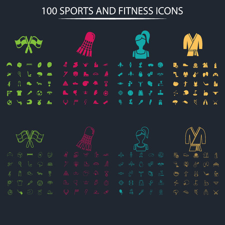pool player: Set of one hundred full and thin sport icons on the background Illustration