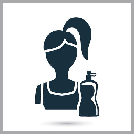 thinness: Fitness girl icon on the background Illustration