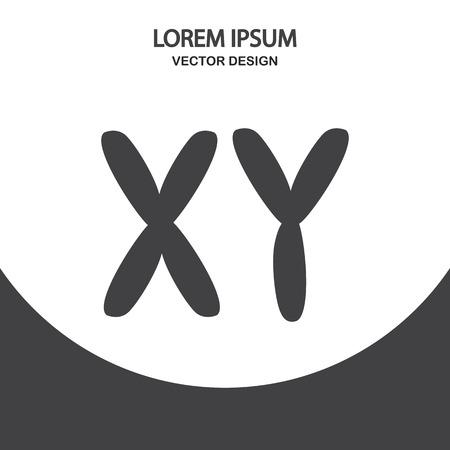 cromosoma: X e Y icono del cromosoma en el fondo