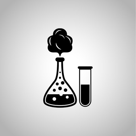 reagent: School chemistry flasks with reagent icon Illustration