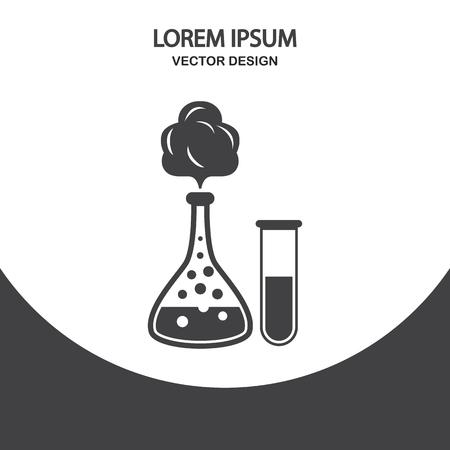School chemistry flasks with reagent icon Ilustração Vetorial