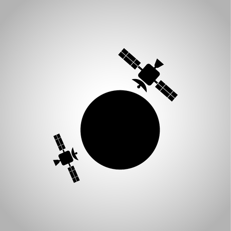 transmit: Earth satellites icon on the background Illustration