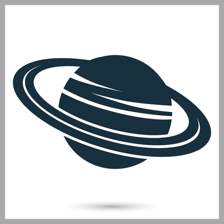 and saturn: Saturn icon on the background Illustration