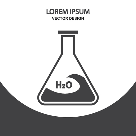 drug test: Chemical flasks with water icon on the background