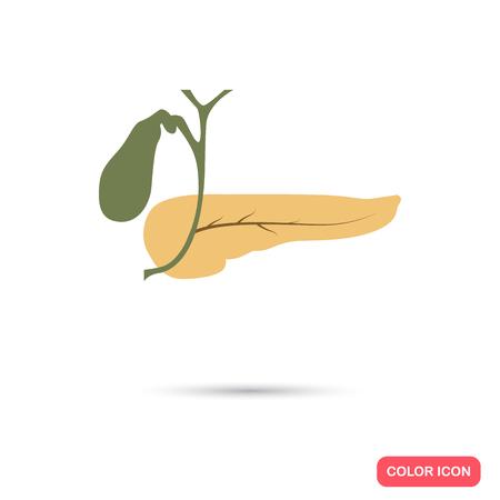 pancreas: Pancreas color flat icon
