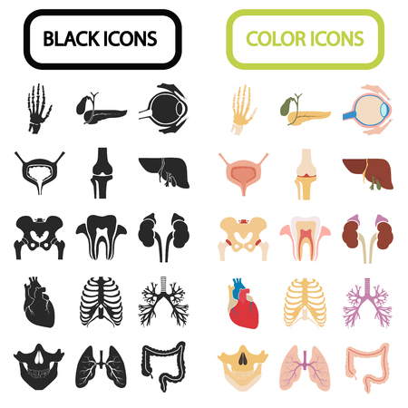 adrenal: Set of sixteen human organs and anatomic parts color and black flat icons Illustration