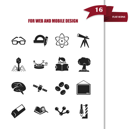 bacteriophage: Set of sixteen science and education icons Illustration