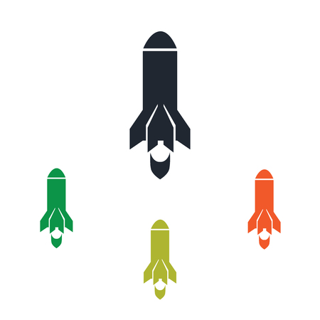 conquer: Rocket fly icon on the background