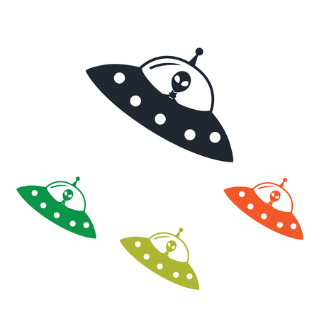 Alien icône de navire sur le fond