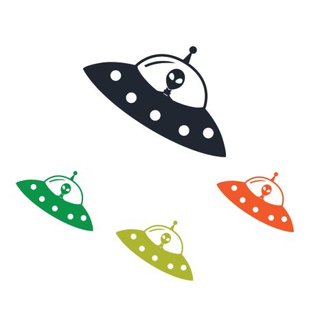icono de nave extraterrestre en el fondo