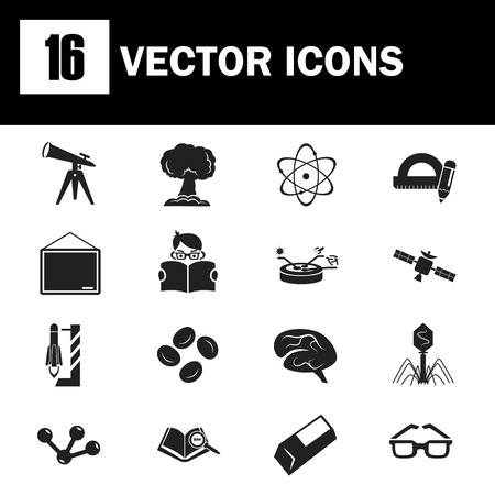Set of sixteen science and education icons Illustration