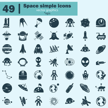 conquer: Set of forty nine cosmos icons