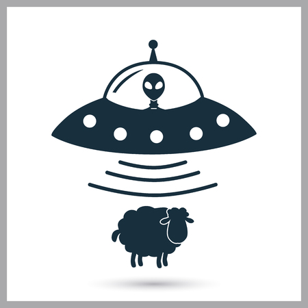 Alien ship steal sheep icon on the background Illustration