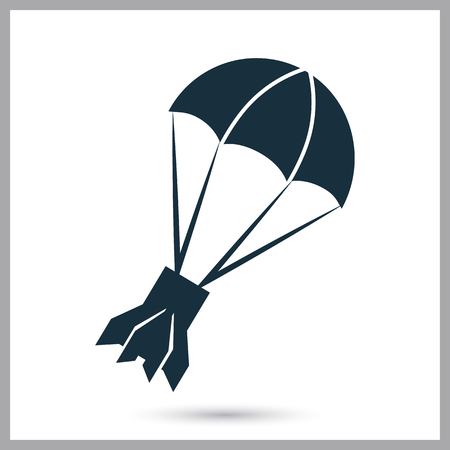 conquer: Rocket tail on parachute icon on the background