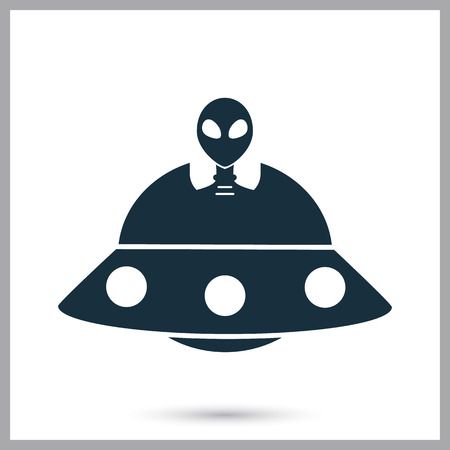 Alien ship icon on the background