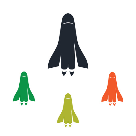 Space vehicle icon on the background