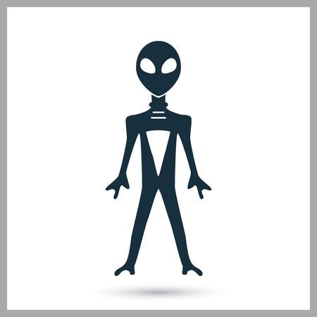 platillo volador: Icono de extraterrestre en el fondo Vectores
