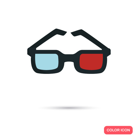 viewer: 3D glasses color flat icon Illustration