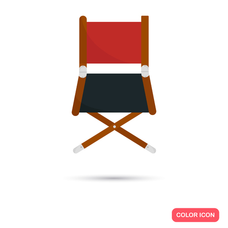video shooting: Director chair color flat icon