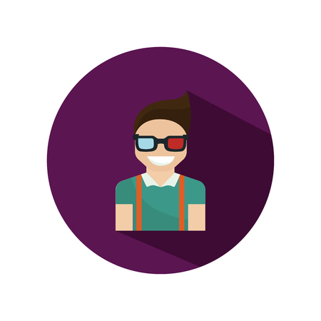 watching 3d: Man watching 3D movie color flat icon Illustration
