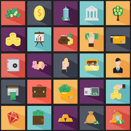 twenty five: Set of twenty five money and finance color flat icons
