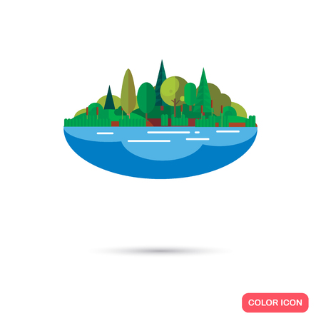 Lake and forest color flat icon