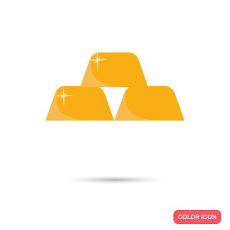 gold bullion: Gold bullion color flat icon