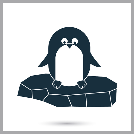 floe: Penguin on the floe icon on the background