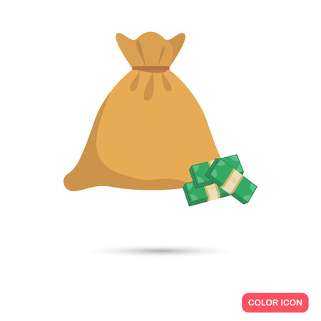 Bag with money color flat icon Illustration