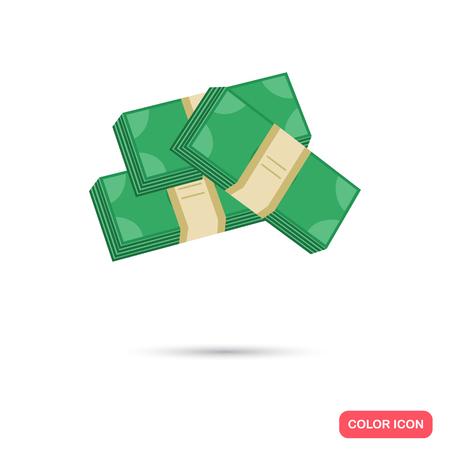 Bundle of money color flat icon Illustration