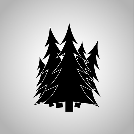 pine forest: Pine forest icon on the background Illustration