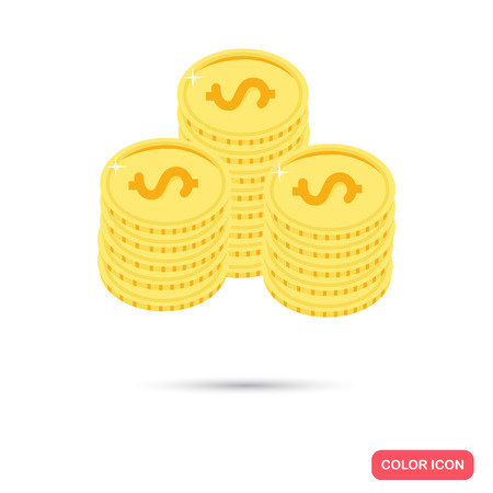 piles: Piles of coins color flat icon