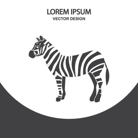 hoofed mammal: Zebra icon on the background Illustration