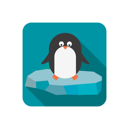 floe: Penguin on the floe color flat icon Illustration