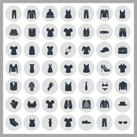 forty: Set of forty nine clothes icons Illustration